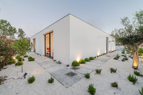 Modern villa outside view at blue hour - Stock Photo - Images
