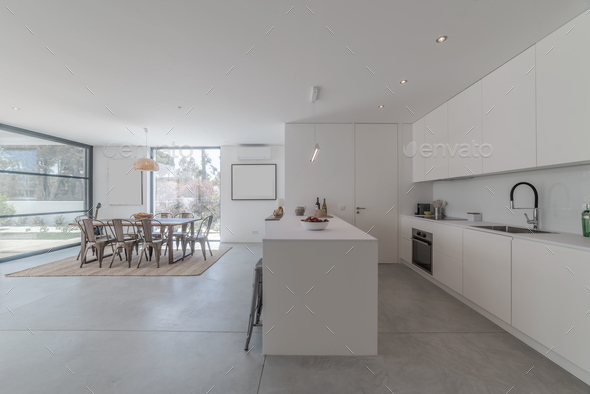 Kitchen view inside modern villa - Stock Photo - Images