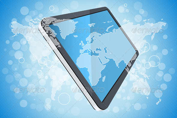 Blue Background with World Map and Tablet Computer - Backgrounds Decorative