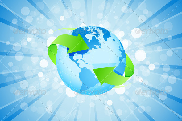 Blue Background with Planet Earth - Backgrounds Decorative