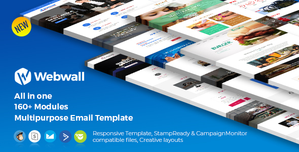 Webwall -160+ Modules Newsletter Template + StampReady & CampaignMonitor compatible files by webwall