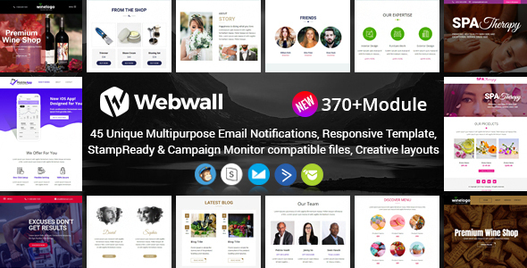 Webwall- 370+ Modules Newsletter Template + StampReady & CampaignMonitor compatible files by webwall