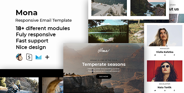 Mona – Responsive HTML Email + StampReady, MailChimp & CampaignMonitor Compatible Files