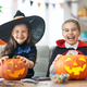 kids with carving pumpkin - PhotoDune Item for Sale