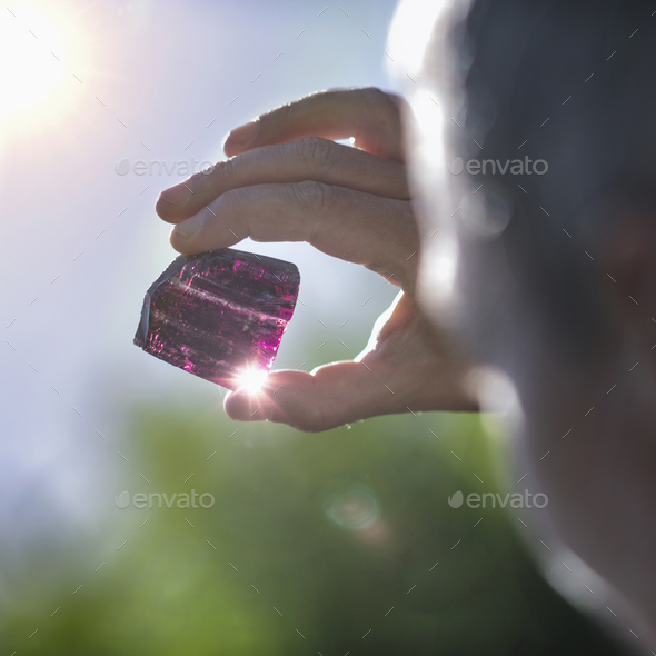 Crystal Healing Therapy with Purple Amethystine Quartz Crystal - Stock Photo - Images