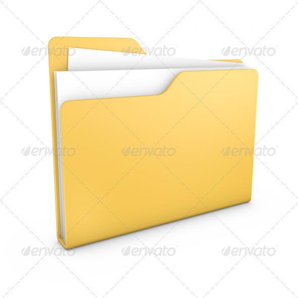 Yellow File Folder - Objects 3D Renders