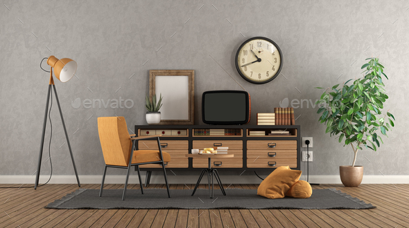 Retro living room with old tv on vintage sideboard