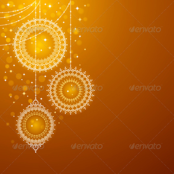 Christmas Ornaments On Golden Background - Christmas Seasons/Holidays