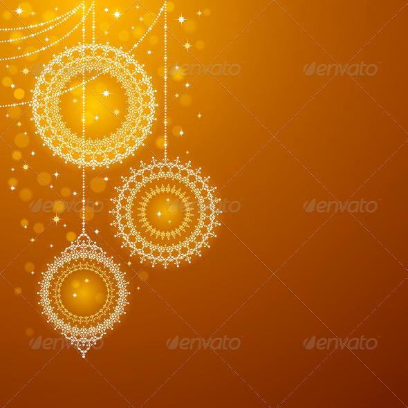 Christmas Ornaments On Golden Background - Christmas Seasons/Holidays