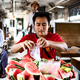 Burmese man selling melon in the train - PhotoDune Item for Sale