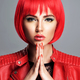 Beautiful sexy woman with bright red bob hairstyle. Fashion  mod - PhotoDune Item for Sale