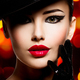 Beautiful woman in a black hat and gloves with red lipstick. - PhotoDune Item for Sale