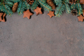 Christmas or New Year Festive Background with Chocolate Cookies - PhotoDune Item for Sale