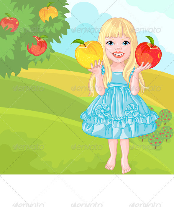 Cute Little Girl with the Apples Laughs - People Characters
