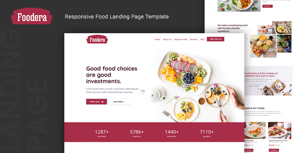 Foodera — Responsive Food Landing Page Template by thememor