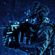 Soldier aiming service rifle under rain at night - PhotoDune Item for Sale