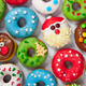 Set of Christmas donuts on gray stone background. - PhotoDune Item for Sale