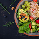 Buddha bowl dish with meatloaf, bulgur, avocado, sweet pepper, tomato, cucumber, berries and nuts - PhotoDune Item for Sale