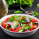 Tomato and cucumber salad with red onion, paprika, black pepper and parsley. Vegan food. Diet menu. - PhotoDune Item for Sale