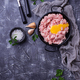 Minced meat with spices and raw yolk - PhotoDune Item for Sale