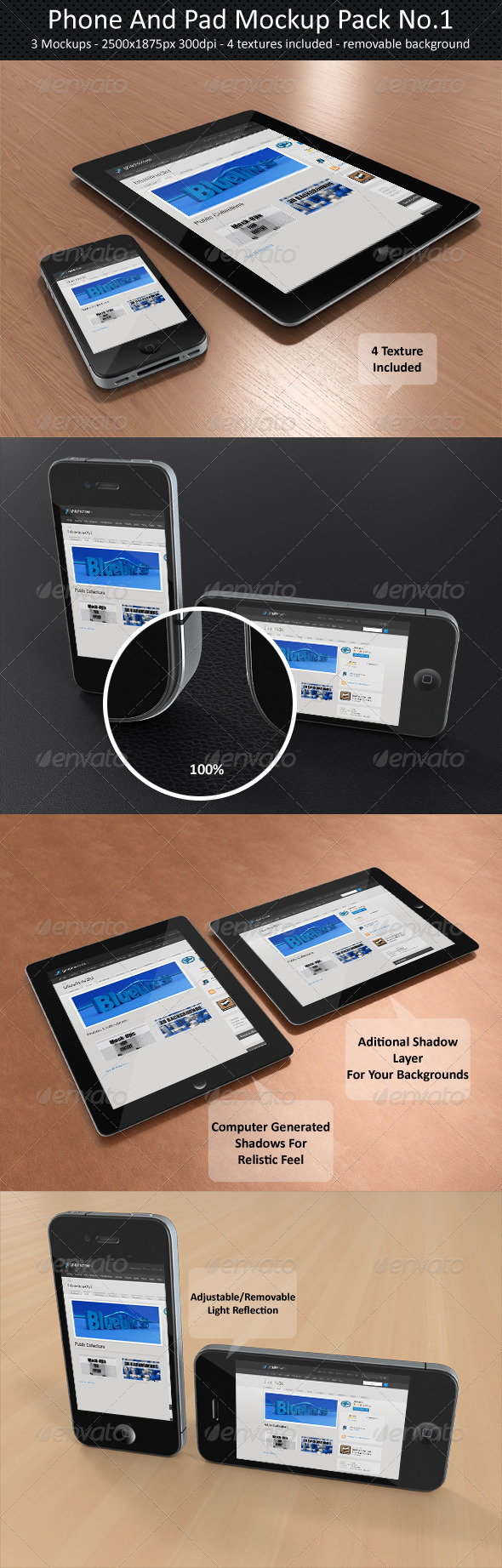 Phone And Pad Mock-Up Pack No.1 - Multiple Displays
