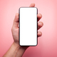 smartphone with blank white display isolated on pink background - PhotoDune Item for Sale