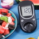 Glucose meter for measuring sugar level and fresh salad - PhotoDune Item for Sale