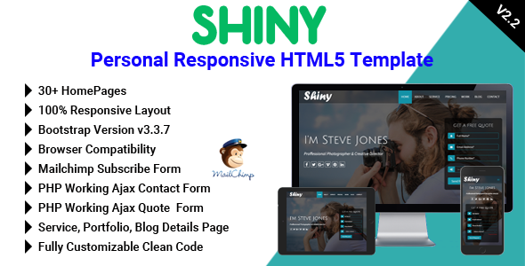 Shiny - Personal Responsive HTML5 Template