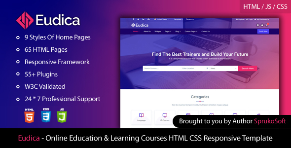 Eudica – Online Education Courses HTML Template