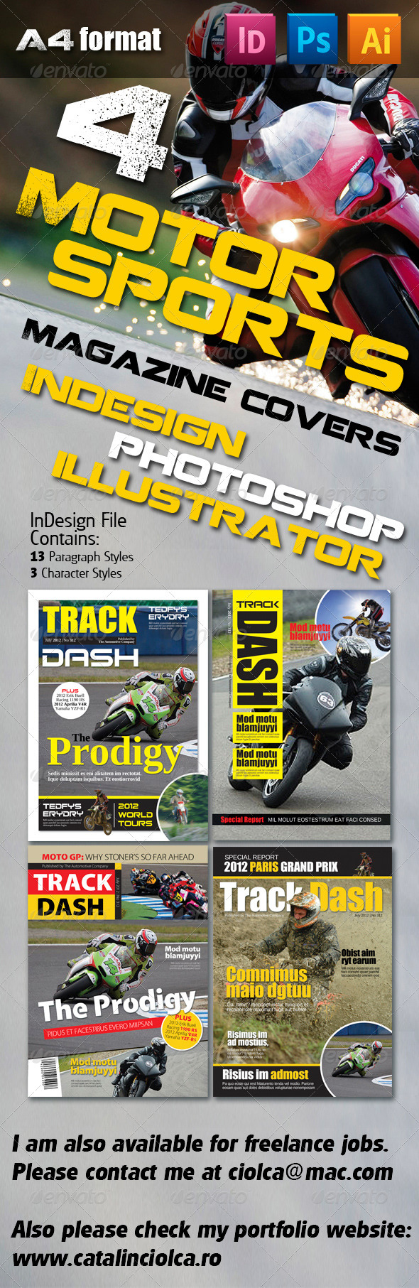 4 Motorsports Magazine Covers - Magazines Print Templates