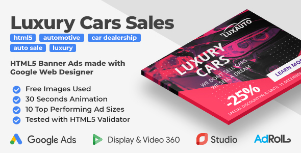 Luxauto - Luxury Cars Sales & Service HTML5 Banner Ad Templates (GWD)
