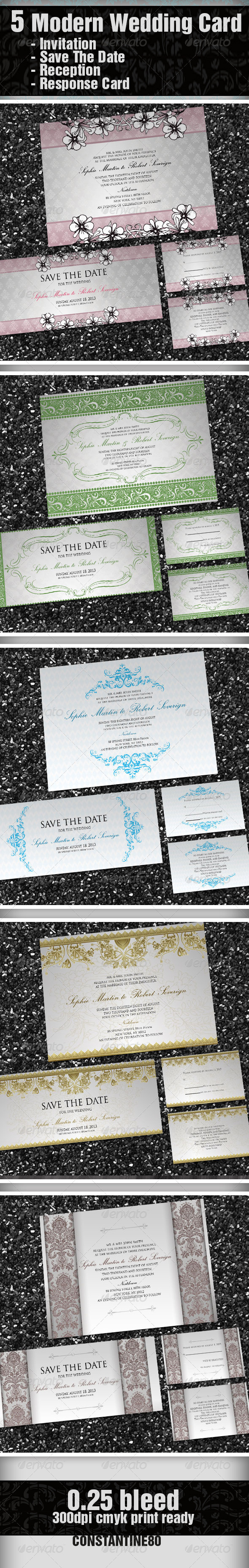 5 Items Modern Wedding Card - Weddings Cards & Invites