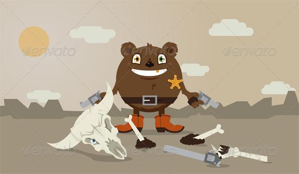 Wild Cowboy Bear - Animals Characters