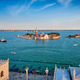 Aerial view of Venice lagoon with boats and San Giorgio di Maggiore church. Venice, Italy - PhotoDune Item for Sale