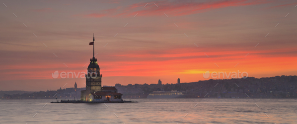 Panorama of Maiden's Tower in Istanbul - Stock Photo - Images