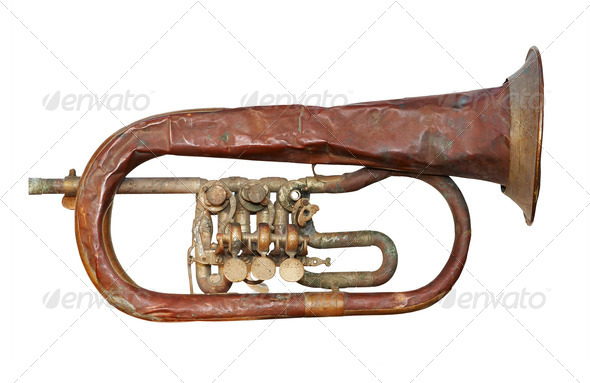 old broken trumpet - isolated - Stock Photo - Images