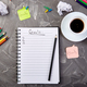Goals as memo on notebook with idea, crumpled paper, cup of coffee - PhotoDune Item for Sale