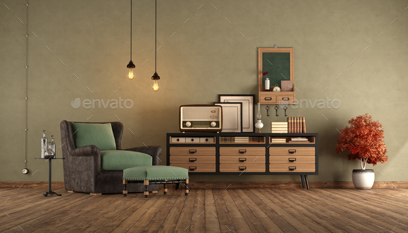 Reatro living room with armchair and vintage radio on wooden sideboard