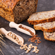 Wholegrain bread for breakfast, ingredients for baking and ears of rye or wheat grain - PhotoDune Item for Sale