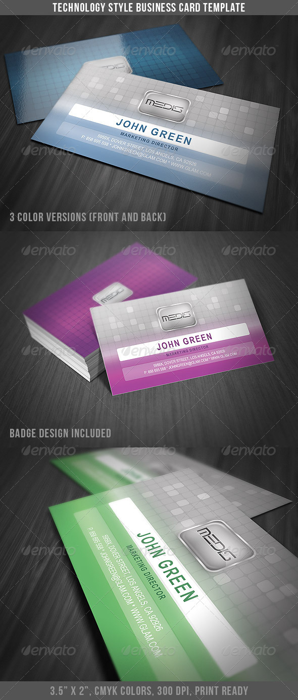 Technology Style Business Card - Business Cards Print Templates