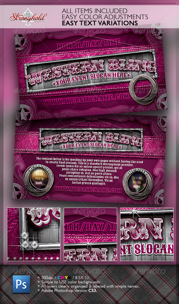 Western Bling Flyer Template - Events Flyers