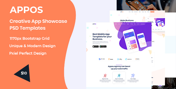 Appos-  Creative App Showcase PSD Templates