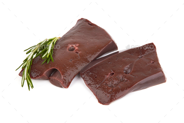 Liver fillet on white - Stock Photo - Images