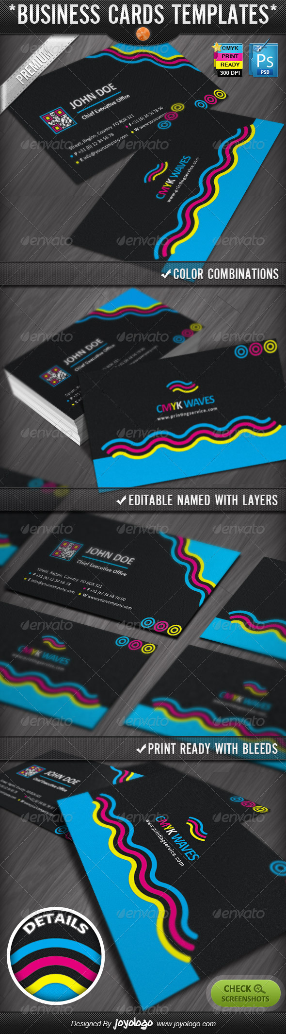 CMYK Colors Print Company Business Cards Design - Corporate Business Cards
