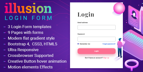Share codecanyon Illusion Modern Responsive Login Layouts