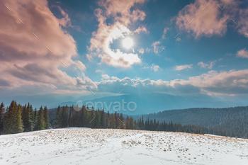 Amazing evening winter landscape
