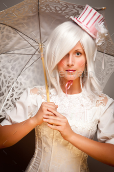 Pretty White Haired Woman Wearing Classic Dress with Parasol and Small Top Hat.