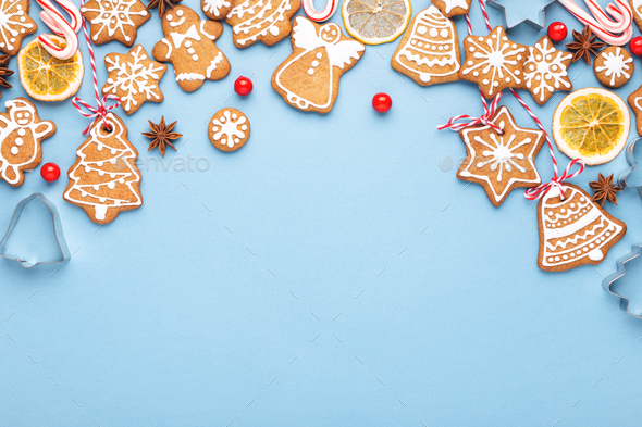 Christmas Backround.Blue Christmas Background With Frame Made Of Gingerbread Cookies