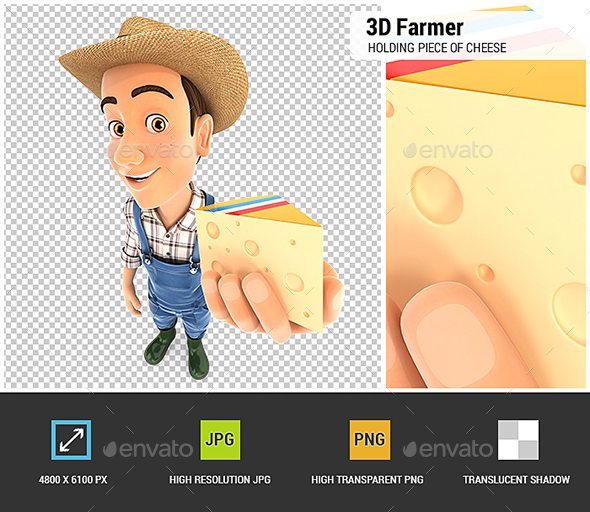 3D Farmer Holding Piece of Cheese
