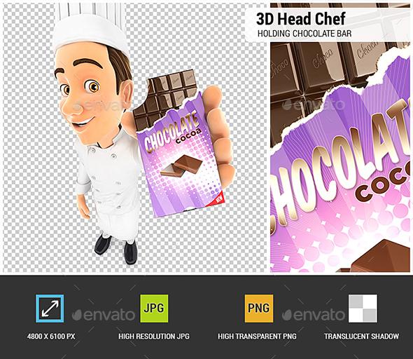 3D Head Chef Holding Chocolate Bar